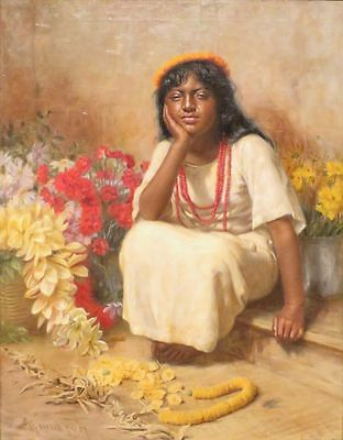 "perfect 24x36oil painting handpainted on canvas ""a little girl and flowers""N3384"