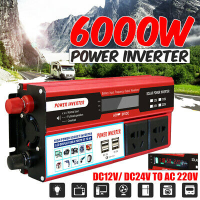 6000W Peak Digital Solar Power Inverter 12V/24V To 220V Car Sine Converter USB