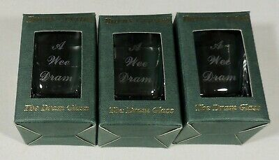 3 Burns Crystal Scotland Engraved Etched A Wee Dram The Dram Shot Glass New NIB