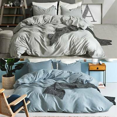 Plain Dyed Cover Quilt Bedding Set With Pillowcase Single Double King Size UK