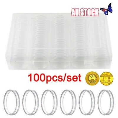 100pcs Clear Round Case Coin Capsules Storage Holder Display Container 30mm New