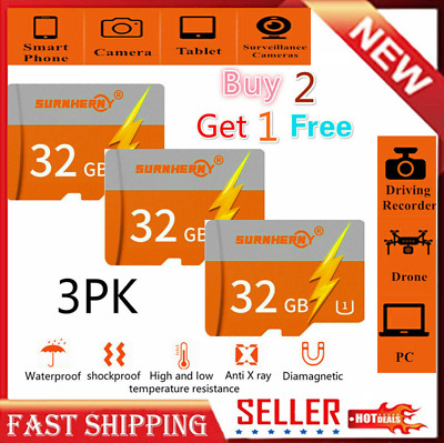 3×32GB TF Flash Micro Memory Card Fast Class10 80MB/S For Camera Mobile Phones