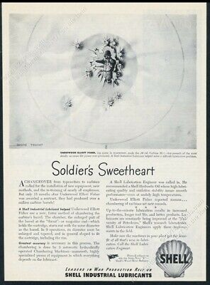 1944 US Army soldier shooting M1 carbine target art Shell oil vintage print ad