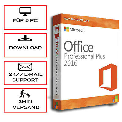Office 2016 Professional Plus - Pro Plus - 1/5PC - 32&64 Bits  - ESD, per E-Mail