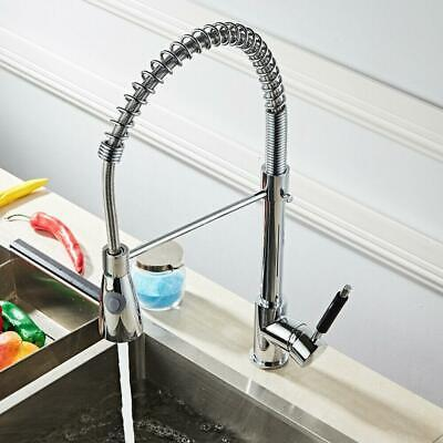 Swivel Durable Kitchen Sink Faucet Chrome Spout Pull Down Single Hole Mixer Tap
