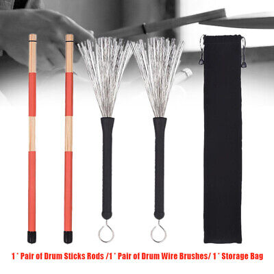 4pcs/set Drum Sticks Drum Brushes for Jazz Acoustic Music Lover with Storage Bag