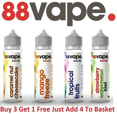 88 Vape E Liquid Shortfill 50ml Premium Vape Juice 75VG/25PG Made In The UK 0mg