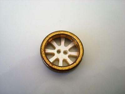 Vtg. Brass Tone and Mother of Pearl MOP Shell Sew Through Wheel Button 11/16 In