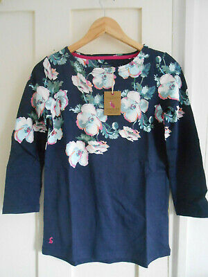 Bnwt Joules Harbour Top Navy Floral Prints 3/4 Sleeves Uk8 10 12