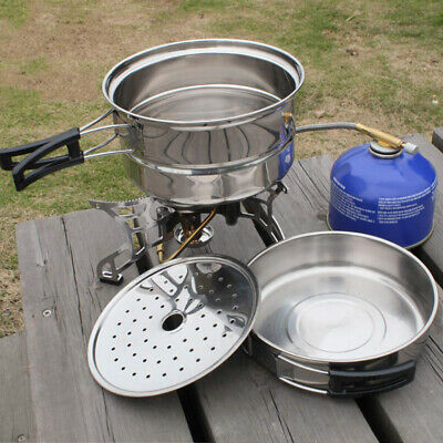 Portable Stainless Steel Camping Picnic Cooking Pot Fry Pan Set Outdoor Cookware