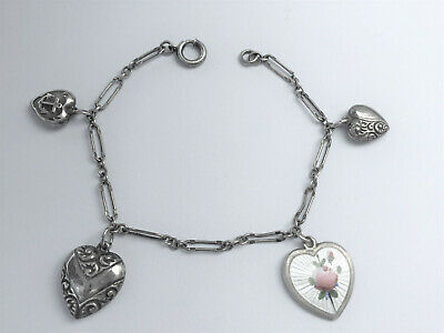 Gorgeous Antique Sterling Silver Puffy Heart Charm Bracelet