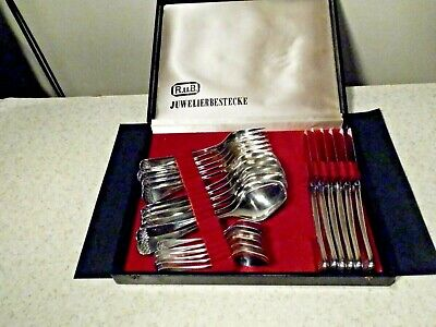 Antique German Silverplate Flatware Set 24 Pieces Service For 6 Pristine