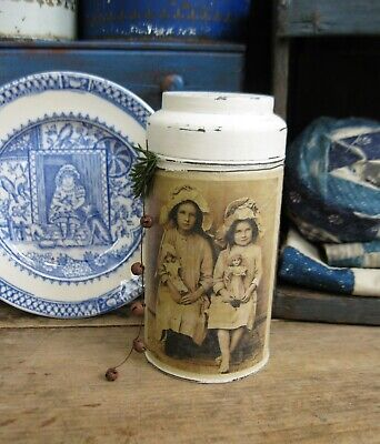 Early Antique Pantry Tin Old Photo Print Girls w Dolls Free Shipping