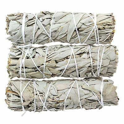 "3 White Sage Smudge Stick 4"" - 5"" House Cleansing Remove Negativity WHOLESALE"
