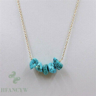 13-30mm Natural Turquoise Pendant Necklace 18 inch Jewelry Chic Chain Party
