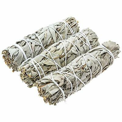 """3 White Sage Smudge Bundle Incense-Herb Wand 4- 5"""" Long House Cleansing Negative"""