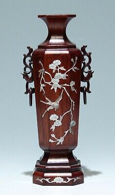 Chinese Inlaid Mother of Pearl Wooden Vase     #as440