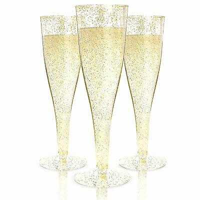 Plastic Champagne Flutes Disposable Glasses Wedding Party Gold Glitter 100 Pack
