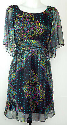 M76 BLUE Paisleys-Tattoo,Stretch Mini Dress with Sequins M//Medium
