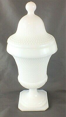 """Beautiful White Milk Glass Small Beaded Hobnail Lidded Footed Compote 10 1/2"""""""