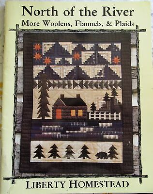North of the River WOOL FLANNEL PLAID Primitive Lodge Cabin Quilt Pattern Book