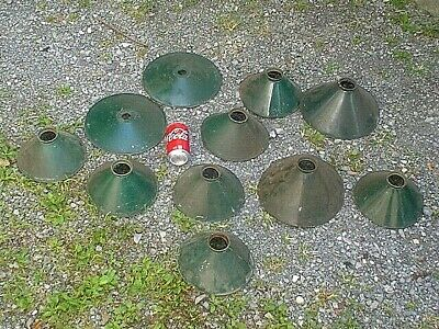 Lot Of Antique Small Industrial Machine Shop Metal Light Shades 8'' & 10''