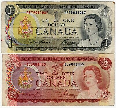Lot Of 2 1973 1974 Bank Of Canada One 1 And Two 2 Dollar Banknotes