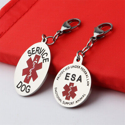 Double Sides Round Oval Service Dog Metal Tag ESA Pendant For Dog Collar