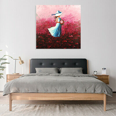 Modern Hand Painted Oil Painting Framed Canvas Art Wall Home Decor Young Girl