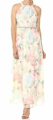 S.L. Fashions Womens White Ivory Size 8 Embellished Floral Maxi Dress $119- #908