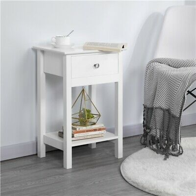 Sofa Side End Table with Drawer Storage Shelves Bedside Cabinet Nightstand White