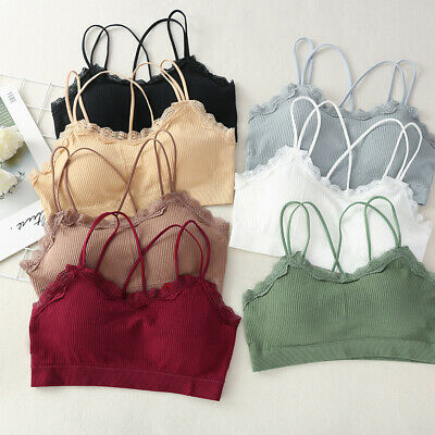 Women Lace Stretch Seamless Underwear Sports Bra Top VestRemovable Chest Pad