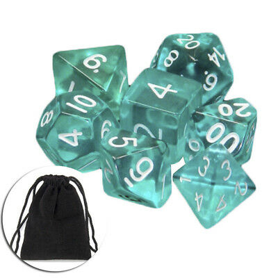Lots of 7 Piece Polyhedral Set Cloud Drop Translucent Teal RPG DnD With Dice Bag