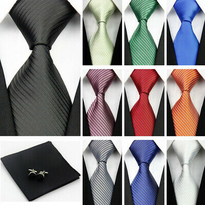 Mens Wedding Silk Tie Set Cufflinks Pocket Square Neckties Classic Slim Ties