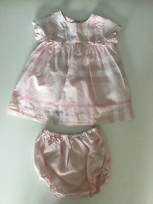 Burberry Baby Girls Pink Checkered Dress With Shorts 2 Piece Set Outfit Age 6 M