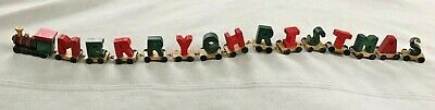 """Wood MERRY CHRISTMAS LETTER Train Holiday Decor ~ 22"""" LONG WOODEN"""