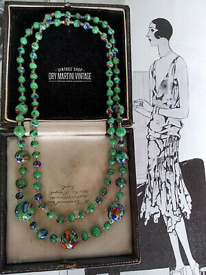 Antique Art Deco Bohemian Czech Flapper Necklace End Of Day Pressed Glass Beads