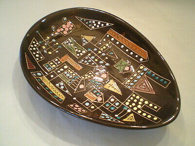 Vintage '50's Mod Abstract Large Ashtray / Dish ~Funky Dot Pattern ~Ceramic