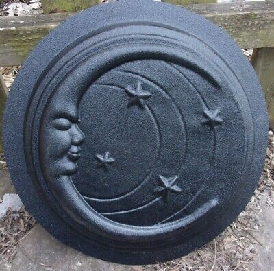 """Moon face stepping stone plastic mold 13"""" x 2"""""""