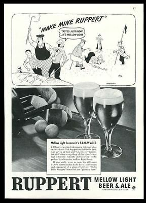 1943 Ruppert Mellow Light Beer & Ale golf clubs balls photo & cartoon print ad
