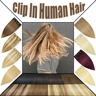 Clip in Human Hair Extensions Full Head 100% Real Remy Hair Any Colour 10-24inch