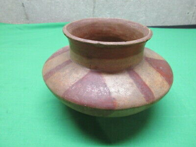 Authentic Native American Mississippian Keel Shaped Red & White Pot Arkansas