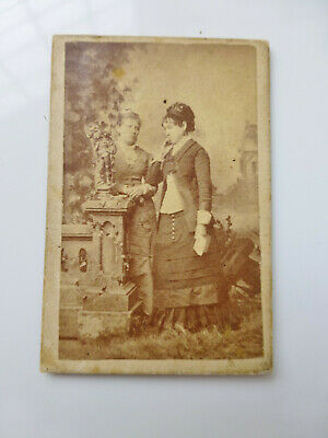 Antique Tiny CDV Cabinet Photo 2 Victorian Women in Complemtative Thought c1880s