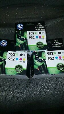 3 New HP 952XL Black & 952 Color Ink Combo  Pack of 4 Exp 2021