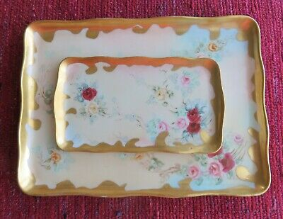 Matching Antique Hand Painted Dresser Tray and Pin Tray for Vanity