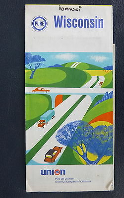 1968 Wisconsin road map Pure Oil Company