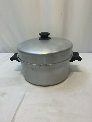 Vintage Saladmaster Aluminum Stock Pot #405 With Vapo Lid Dallas TX Sits Flat