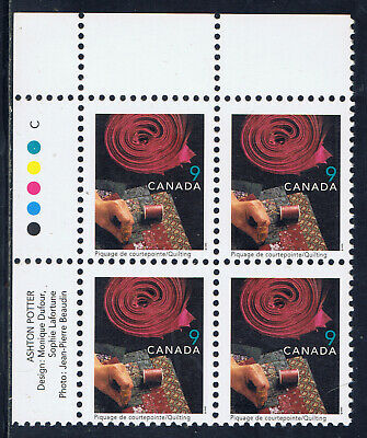 Canada #1678(23) 1999 9 cent QUILTING Upper Left Plate Block MNH