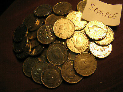 Collection Of 40 Rare Random Canada King George V Era 1922 to 36 5 Cent Coins.