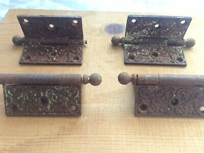 Antique Vintage 4 Eastlake Victorian Brass Heavy Door Hinges
